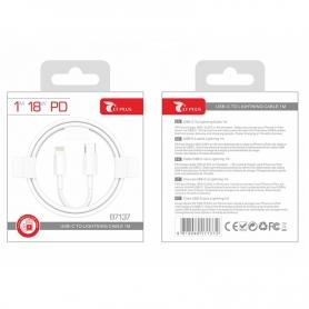 LT PLUS B7137 Cable USB-C a Lightning 1M Blanco