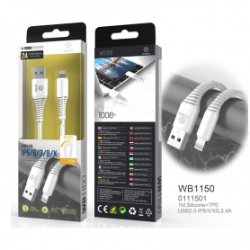 WOOX WB1150 Cable Lightning De Silicone + TPE 1M 2.4A Blanco