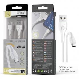 WOOX WB1146 Cable Micro USB V8 2.4A 1M Blanco