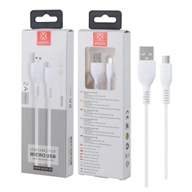 WOOX WB2356 Cable Micro USB V8 2A 1M Blanco