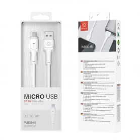 WOOX WB3045 Cable Micro USB V8 2A 1M Blanco