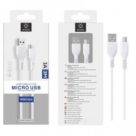 WOOX WB2484 Cable Micro USB V8 2A 3M Blanco