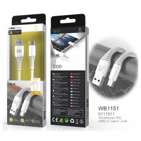 WOOX WB1151 Cable TYPE-C 2A 1M Blanco