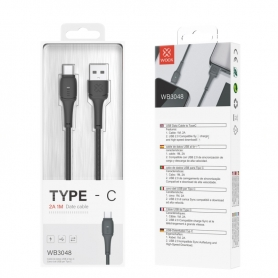 WOOX WB3048 Cable TYPE-C 2A 1M Negro