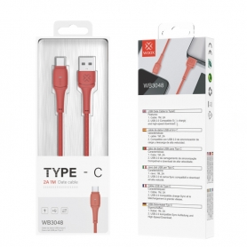 WOOX WB3048 Cable TYPE-C 2A 1M Rojo