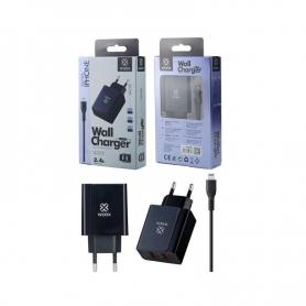WOOX WA2381 Cargador Con Cable Lightning 2 Puertos 2.4A Negro