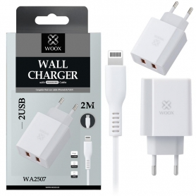 WOOX WA2507 Cargador Con Cable Lightning 2M Blanco