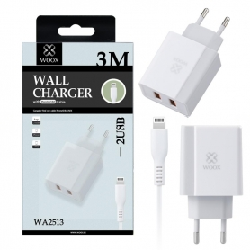 WOOX WA2513 Cargador Con Cable Lightning 3M Blanco