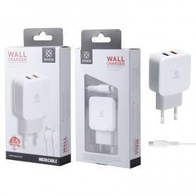 WOOX WA2728 Cargador Con Cable Micro USB 2.4A Blanco