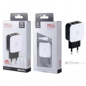 WOOX WA2728 Cargador Con Cable Micro USB 2.4A Negro