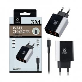 WOOX WA2511 Cargador Con Cable Micro USB 2A 3 Metro