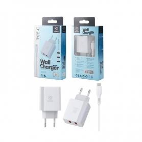 WOOX WA2383 Cargador Con Cable TYPE-C 2 PUERTOS 2.4A 1M Blanco