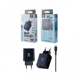 WOOX WA2383 Cargador Con Cable TYPE-C 2 PUERTOS 2.4A 1M Negro