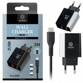 WOOX WA2509 Cargador Con Cable TYPE-C 2 PUERTOS 2.4A 2m Negro