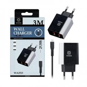WOOX WA2515 Cargador Con Cable TYPE-C 2 PUERTOS 2.4A 3m Negro