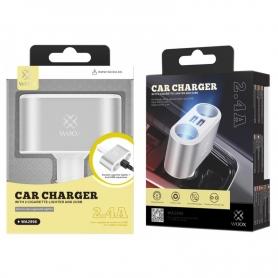 WOOX WA2996 Cargador Para Coche 2 USB 2 Mechero2.4A Plata