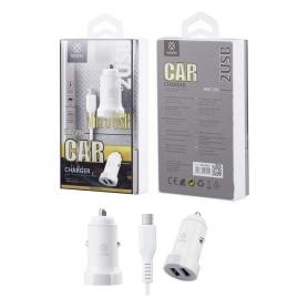 WOOX WA2391 Cargador Para Coche Con Cable Micro USB 1m 2.4A Blanco
