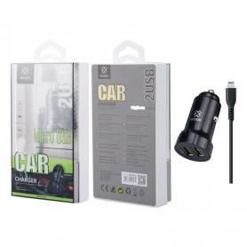 WOOX WA2393 Cargador Para Coche Con Cable Lightning 1m 2.4A Negro