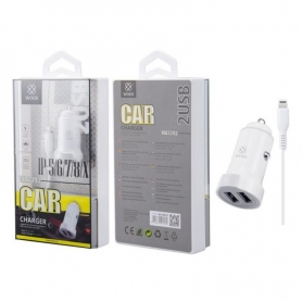 WOOX WA2393 Cargador Para Coche Con Cable Lightning 1m 2.4A