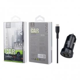 WOOX WA2395 Cargador Para Coche Con Cable TYPE C 1m 2.4A Negro