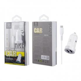 WOOX WA2395 Cargador Para Coche Con Cable TYPE C 1m 2.4A Blanco