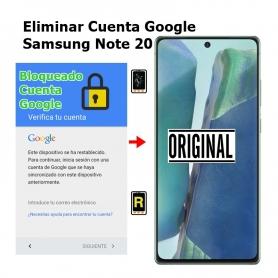 Eliminar Cuenta Google Samsung Note 20