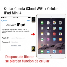 Quitar Cuenta iCloud WiFi + Celular iPad Mini 4